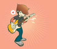 Guitar player in cartoon style, music and show concert, vector illustration Royalty Free Stock Images