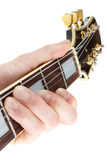 Guitar player closeup. Vertical composition, isolated on white Stock Photo