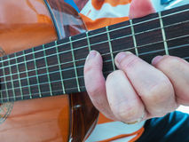 Guitar player detail Stock Images