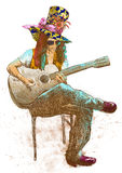 Guitar player - Eccentric with a colored hat. Royalty Free Stock Images