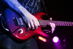 Guitar player with electric guitar Stock Image