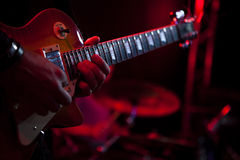 Guitar Player. Gigging at the club Stock Photography