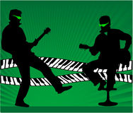 Guitar player - green illustration Stock Image