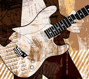 Guitar player on grunge background. Vector illustration of an electric guitar player on grunge background Royalty Free Stock Photo