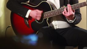 Guitar player guitarist performs musical event concert live. Stock footage stock footage