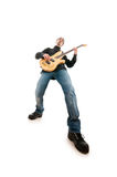Guitar player isolated on the white Royalty Free Stock Images