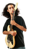 Guitar player isolated on the white Royalty Free Stock Photography