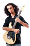 Guitar player isolated on the white Stock Photo