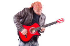 Guitar player isolated Stock Photos