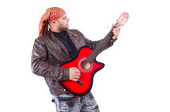Guitar player isolated Royalty Free Stock Photos