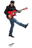 Guitar player isolated on the white Stock Photography