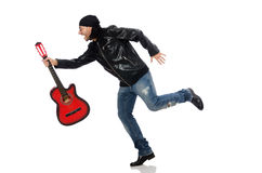 Guitar player isolated on the white Royalty Free Stock Photos