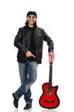 Guitar player isolated on the white Stock Image
