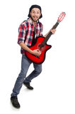 The guitar player isolated on the white Royalty Free Stock Image