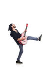 The guitar player isolated on the white Royalty Free Stock Photos