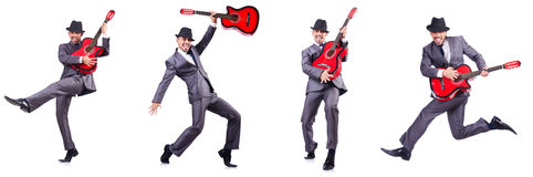 The guitar player isolated on the white Stock Photography