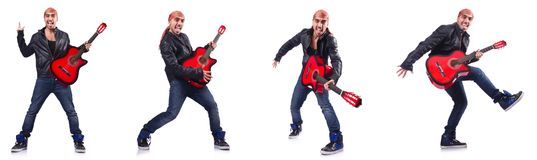 The guitar player isolated on white Stock Photo