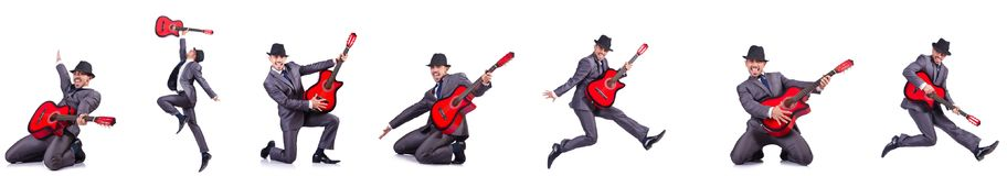 The guitar player isolated on the white Stock Photos