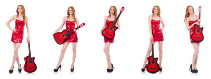 The guitar player isolated on white. Guitar player isolated on white Stock Photography