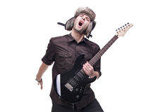 Guitar player jumping in midair Stock Photo