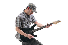 Guitar player jumping in midair Royalty Free Stock Photography