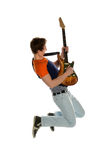 Guitar player Jumping Royalty Free Stock Photography