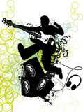 Guitar player jumps. Vector illustration Stock Photo