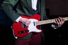 Guitar player live on stage royalty free stock image