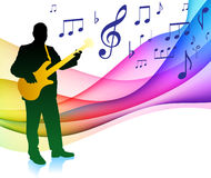 Guitar Player on Musical Note Color SpectrumOriginal Vector Illu. Guitar Player on Musical Note Color Spectrum Royalty Free Stock Image