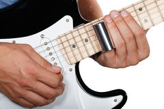 Guitar player performing song Stock Images