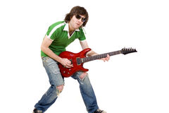 Guitar player playing his guitar Royalty Free Stock Image