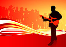 Guitar player on red abstract background Stock Photography