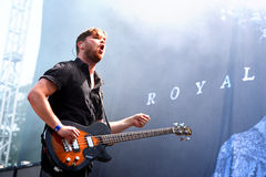 Guitar player of Royal Blood (British rock duo band formed in Worthing) concert at Dcode Festival Royalty Free Stock Photography
