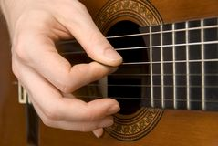 Guitar player's right hand. Close-up of a spanish guitar being played using a plectrum royalty free stock image