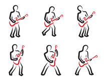 Guitar player silhouettes set Royalty Free Stock Photos