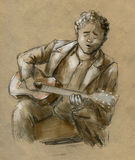 Guitar player and singer. Young man with stylish vintage jacket and curly hair playing the guitar and singing some sad song. Hand drawn pencil sketch Royalty Free Stock Image