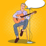 Guitar Player Singing Song in Microphone. Pop Art illustration Stock Photos