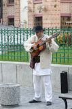 Guitar player in traditional Romanian costume Royalty Free Stock Photography
