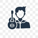 Guitar player vector icon isolated on transparent background, Gu vector illustration
