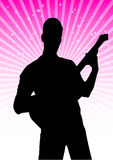 Guitar player vector silhouette Royalty Free Stock Images