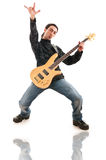 Guitar player  on the white Royalty Free Stock Images