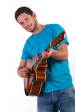 Guitar player on white background Royalty Free Stock Images