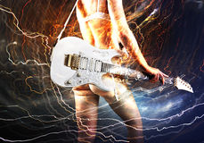 Guitar player with white electric guitar Royalty Free Stock Photos