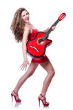 Guitar player woman Royalty Free Stock Photo