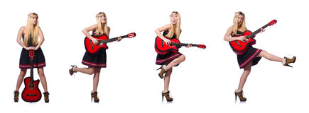 The guitar player woman isolated on white Royalty Free Stock Images