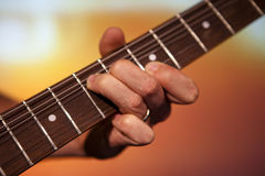 Guitar players fingers Royalty Free Stock Photography