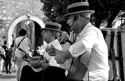 The guitar players of Taormina Sicily stock photo