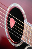 Guitar plectrum on strings Royalty Free Stock Images