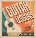Guitar poster design. Vintage poster design for guitar lessons. Retro concept for learning to play guitar - all styles and all skill levels. Creative concept vector illustration