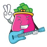 With guitar purse character cartoon style. Vector illustration Stock Images